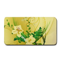 Wonderful Soft Yellow Flowers With Leaves Medium Bar Mats