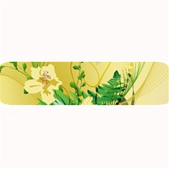 Wonderful Soft Yellow Flowers With Leaves Large Bar Mats