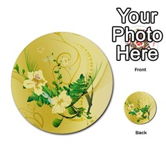 Wonderful Soft Yellow Flowers With Leaves Multi-purpose Cards (Round)