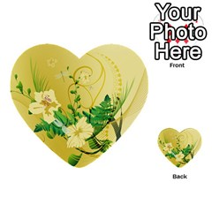 Wonderful Soft Yellow Flowers With Leaves Multi-purpose Cards (Heart)