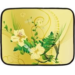 Wonderful Soft Yellow Flowers With Leaves Fleece Blanket (mini)