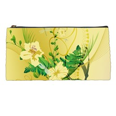 Wonderful Soft Yellow Flowers With Leaves Pencil Cases