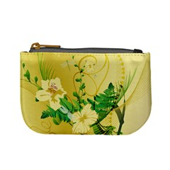 Wonderful Soft Yellow Flowers With Leaves Mini Coin Purses