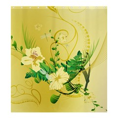 Wonderful Soft Yellow Flowers With Leaves Shower Curtain 66  X 72  (large)