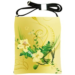 Wonderful Soft Yellow Flowers With Leaves Shoulder Sling Bags