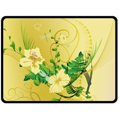 Wonderful Soft Yellow Flowers With Leaves Fleece Blanket (Large)