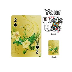 Wonderful Soft Yellow Flowers With Leaves Playing Cards 54 (Mini)