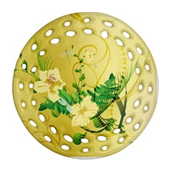 Wonderful Soft Yellow Flowers With Leaves Round Filigree Ornament (2Side)