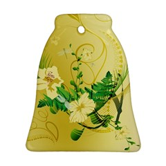 Wonderful Soft Yellow Flowers With Leaves Bell Ornament (2 Sides)