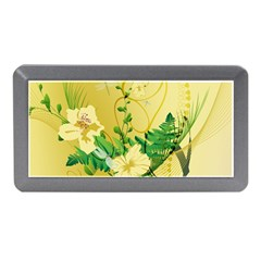 Wonderful Soft Yellow Flowers With Leaves Memory Card Reader (Mini)