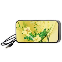 Wonderful Soft Yellow Flowers With Leaves Portable Speaker (Black)