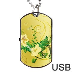 Wonderful Soft Yellow Flowers With Leaves Dog Tag Usb Flash (two Sides)