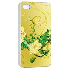 Wonderful Soft Yellow Flowers With Leaves Apple iPhone 4/4s Seamless Case (White)