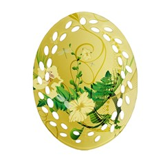Wonderful Soft Yellow Flowers With Leaves Oval Filigree Ornament (2 Side)