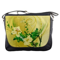 Wonderful Soft Yellow Flowers With Leaves Messenger Bags