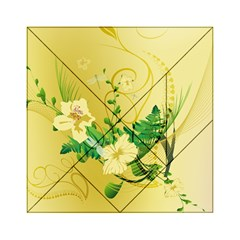 Wonderful Soft Yellow Flowers With Leaves Acrylic Tangram Puzzle (6  x 6 )