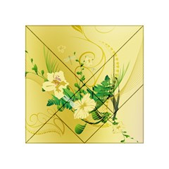 Wonderful Soft Yellow Flowers With Leaves Acrylic Tangram Puzzle (4  x 4 )