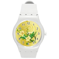 Wonderful Soft Yellow Flowers With Leaves Round Plastic Sport Watch (M)