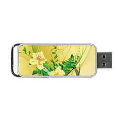 Wonderful Soft Yellow Flowers With Leaves Portable Usb Flash (one Side)