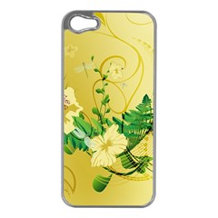 Wonderful Soft Yellow Flowers With Leaves Apple iPhone 5 Case (Silver)