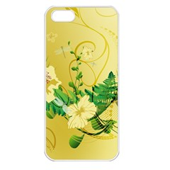 Wonderful Soft Yellow Flowers With Leaves Apple iPhone 5 Seamless Case (White)