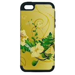 Wonderful Soft Yellow Flowers With Leaves Apple iPhone 5 Hardshell Case (PC+Silicone)