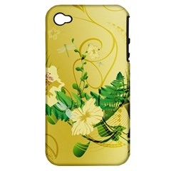 Wonderful Soft Yellow Flowers With Leaves Apple iPhone 4/4S Hardshell Case (PC+Silicone)