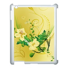 Wonderful Soft Yellow Flowers With Leaves Apple iPad 3/4 Case (White)