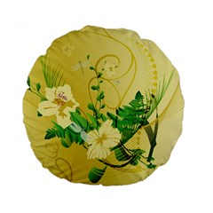 Wonderful Soft Yellow Flowers With Leaves Standard 15  Premium Round Cushions