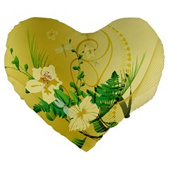Wonderful Soft Yellow Flowers With Leaves Large 19  Premium Heart Shape Cushions