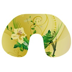 Wonderful Soft Yellow Flowers With Leaves Travel Neck Pillows