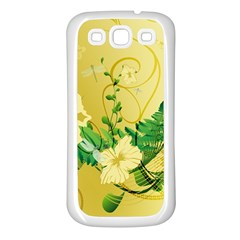 Wonderful Soft Yellow Flowers With Leaves Samsung Galaxy S3 Back Case (White)