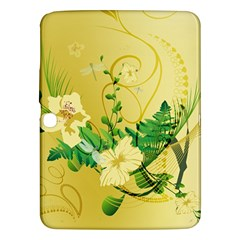 Wonderful Soft Yellow Flowers With Leaves Samsung Galaxy Tab 3 (10.1 ) P5200 Hardshell Case