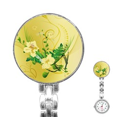 Wonderful Soft Yellow Flowers With Leaves Stainless Steel Nurses Watches
