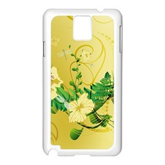 Wonderful Soft Yellow Flowers With Leaves Samsung Galaxy Note 3 N9005 Case (White)