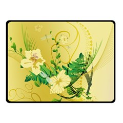 Wonderful Soft Yellow Flowers With Leaves Double Sided Fleece Blanket (small)