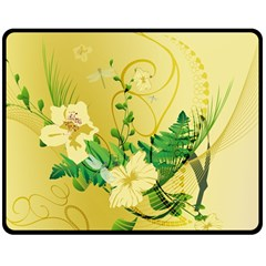 Wonderful Soft Yellow Flowers With Leaves Double Sided Fleece Blanket (medium)