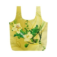 Wonderful Soft Yellow Flowers With Leaves Full Print Recycle Bags (M)