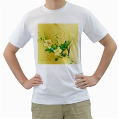 Wonderful Soft Yellow Flowers With Leaves Men s T Shirt (white)