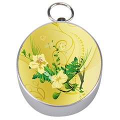 Wonderful Soft Yellow Flowers With Leaves Silver Compasses