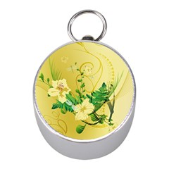Wonderful Soft Yellow Flowers With Leaves Mini Silver Compasses