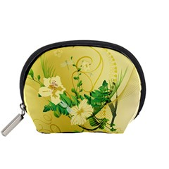 Wonderful Soft Yellow Flowers With Leaves Accessory Pouches (Small)