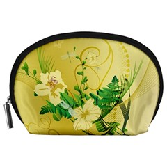 Wonderful Soft Yellow Flowers With Leaves Accessory Pouches (large)