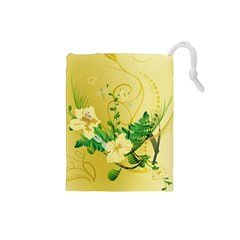 Wonderful Soft Yellow Flowers With Leaves Drawstring Pouches (Small)