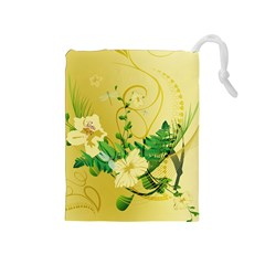 Wonderful Soft Yellow Flowers With Leaves Drawstring Pouches (Medium)