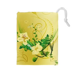 Wonderful Soft Yellow Flowers With Leaves Drawstring Pouches (Large)