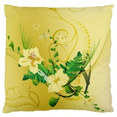 Wonderful Soft Yellow Flowers With Leaves Standard Flano Cushion Cases (one Side)