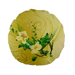 Wonderful Soft Yellow Flowers With Leaves Standard 15  Premium Flano Round Cushions