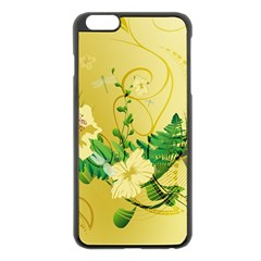 Wonderful Soft Yellow Flowers With Leaves Apple iPhone 6 Plus/6S Plus Black Enamel Case