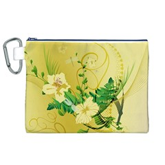 Wonderful Soft Yellow Flowers With Leaves Canvas Cosmetic Bag (XL)